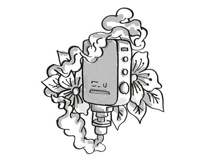 Tattoo cartoon style drawing illustration of a vape electronic cigarette or vaper smoking with leaves and flower on isolated background done in black and white. 스톡 콘텐츠