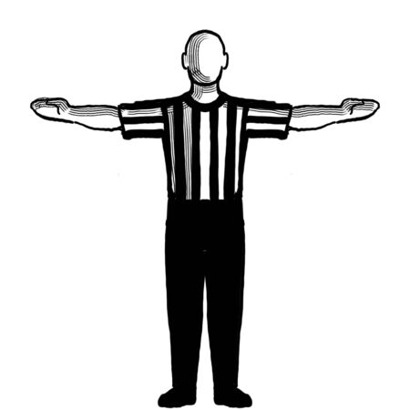 Black and white illustration showing a basketball referee or official with hand signal of 60-second time-out viewed from front on isolated background done retro style.