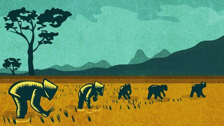 Retro style illustration of a Vietnamese or South East Asian farmers planting rice in rice paddy field with mountains in background.