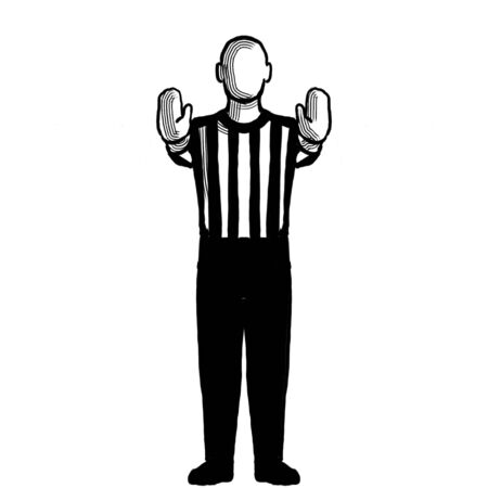 Black and white illustration of a basketball referee or official with hand signal showing 10-second violation or charging pushing viewed from front on isolated background done retro style.