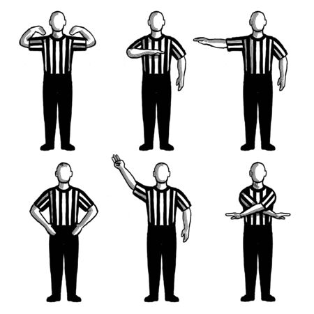 Retro style collection set of drawing illustration showing a basketball referee or official with different hand signals on isolated background done black and white.