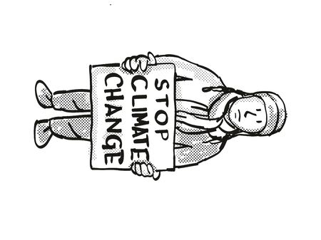 Cartoon style illustration of a young student or child with placard, Stop Climate Change protesting on Climate Change done in black and white on isolated background.