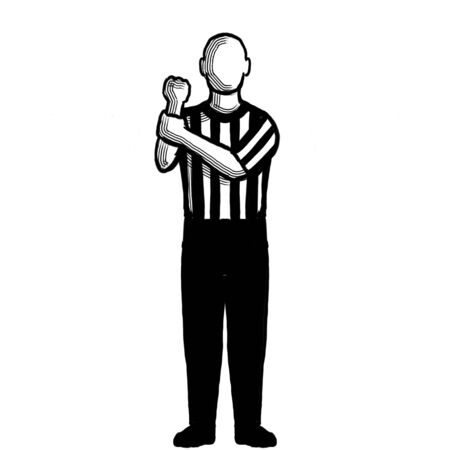 Black and white illustration showing a basketball referee or official with hand signal of holding viewed from front on isolated background done retro style. Stock Photo