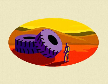 Retro style illustration of a giant mining truck tire with miner looking at at set inside oval  on isolated background on Japanese Paper.