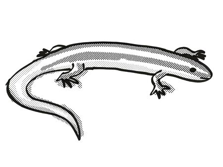 Retro cartoon style drawing of an Alborn Skink , a native New Zealand wildlife on isolated white background done in black and white 写真素材 - 133301365