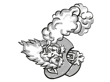 Tattoo cartoon style drawing illustration of an Irish Leprechaun Vaping puffing smoke on isolated background done in black and white.