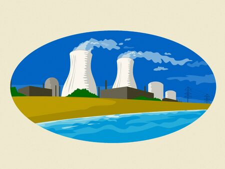 Illustration showing a  nuclear reactor power plant compound with smoke coming out of stack or chimney set inside oval done retro style on Japanese paper.