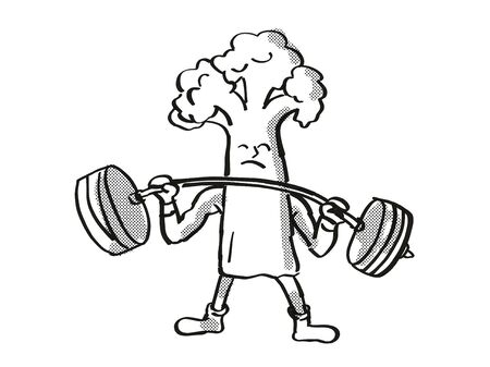 Retro cartoon style drawing of a Cauliflower, a healthy vegetable lifting a barbell on isolated white background done in black and white.