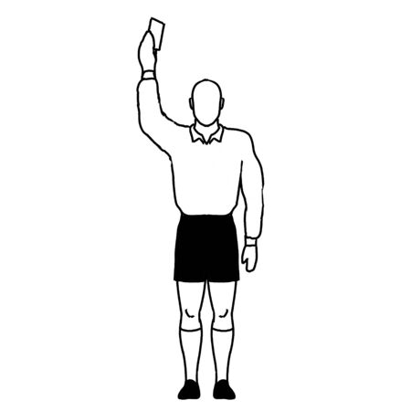 Retro style line drawing illustration showing a rugby referee with penalty Red Card Sending Off or Yellow Card Caution hand signal on isolated background in black and white.