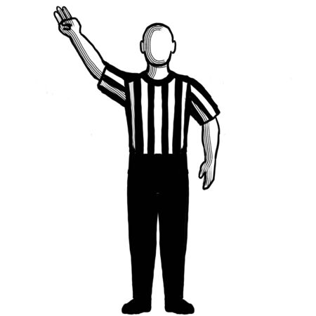 Black and white illustration of a basketball referee or official with hand signal showing 3-point field goal successful viewed from front on isolated background done retro style.