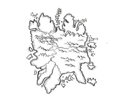 Retro cartoon style drawing of a vintage fantasy or treasure map showing an Island With Mountains and Rivers on isolated white background done in black and white.