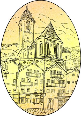 Retro style illustration of Medieval European castle, church and building set inside oval on isolated background.