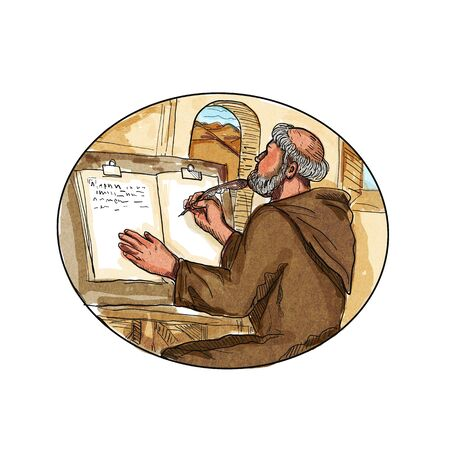 Retro style drawing illustration of a Medieval monk or friar in a monastery writing or transcribing a book set inside oval on isolated background.