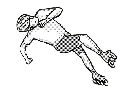 Retro cartoon style drawing of an athlete skater inline speed skating on isolated background done in black and white Banco de Imagens