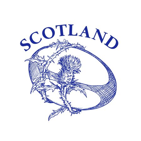Hand sketched drawing illustration of rugby ball with Scotch thistle flower and vine entwined on isolated background with words Scotland. 向量圖像