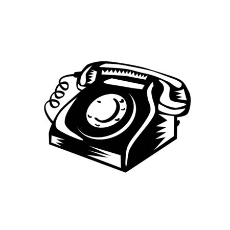 Retro woodcut style illustration of a vintage landline telephone on isolated background done in black and white.