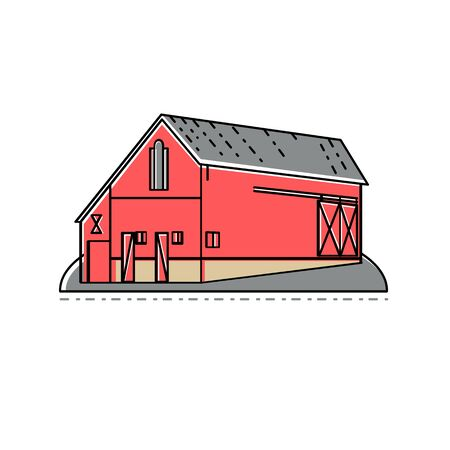 Mono line illustration of a red farm house, farmhouse or barn building viewed from side done in monoline style.  イラスト・ベクター素材