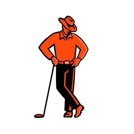 Mascot icon illustration of a cowboy golfer wearing a hat leaning on golf club viewed from front on isolated background in retro style.