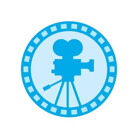 Icon illustration of avintage film video camera set inside circle with film reel done in retro style on isolated background. Ilustração