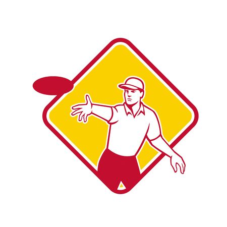 Mascot icon illustration of an disc golf player throwing a flatball inside diamond shape viewed from front on isolated background in retro style.