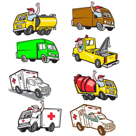 Set or collection of cartoon character mascot style illustration of truck driver driving a fuel tanker, cement truck, ambulance, closed van and tow truck on isolated white background. Ilustración de vector