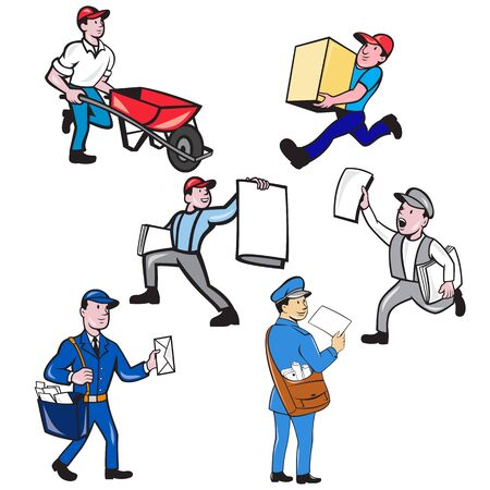 Set or collection of cartoon character mascot style illustration of a delivery person , mailman, postman, newspaper delivery boy on isolated white background.