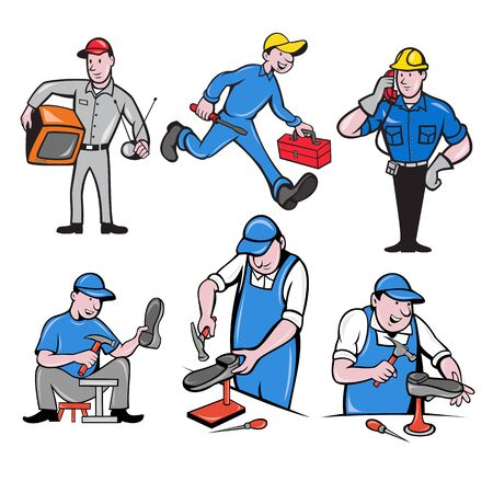 Set or collection of cartoon character mascot style illustration of a tv repairman, handyman, telephone or cable guy and a shoe repairman on isolated white background. Çizim