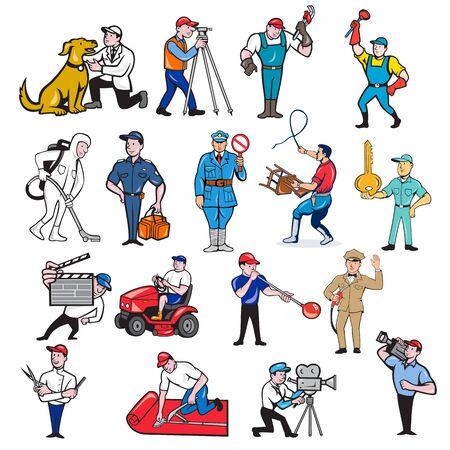 Set or collection of cartoon mascot style illustration of tradesman, surveyor, plumber, cleaner, paramedic, policeman, lion trainer, locksmith, gardener, glassmaker, carpet layer, cameraman and barber on isolated background. Vektorgrafik