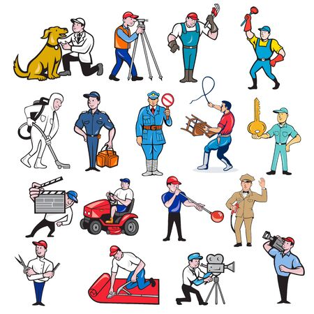 Set or collection of cartoon mascot style illustration of tradesman, surveyor, plumber, cleaner, paramedic, policeman, lion trainer, locksmith, gardener, glassmaker, carpet layer, cameraman and barber on isolated background.