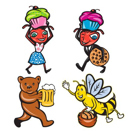 Set or collection of cartoon character mascot style illustration of animals with food like ant carrying cookie and muffin, bear serving beer and honeybee with bread on isolated white background.