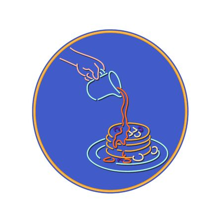 Retro style illustration showing a 1990s neon sign light signage lighting of hand pouring maple syrup on stack of pancake, hot cake, hotcake or flat cake inside oval on isolated background.