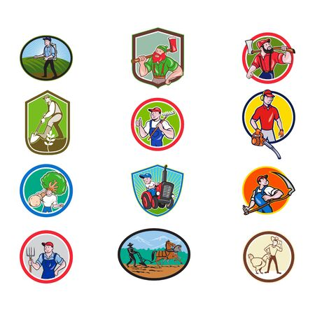Set or collection of cartoon character mascot style illustration of farmer, gardener, agriculturist, horticulturist, landscaper, lumberjack set in circle or crest on isolated white background. Çizim