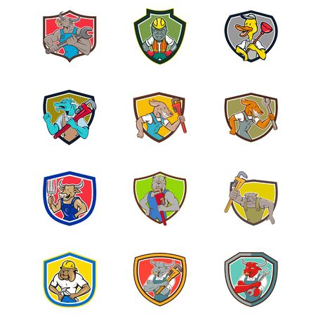 Set or collection of cartoon character mascot style illustration of animals like bull, gorilla, duck, dragon, dog, cow, bulldog, texas longhorn in different industrial occupation jobs set inside shield.