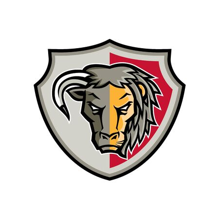 Mascot icon illustration of head of a half bull and half lion set inside crest or shield viewed from front  on isolated background in retro style.