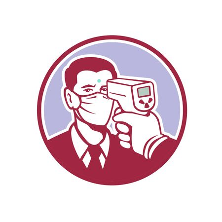 Retro style illustration of a man being screened for coronavirus using a non contact forehead infrared body temperature scanner inside circle shape on isolated background.