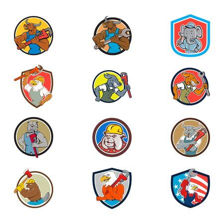 Set collection of cartoon character mascot illustration of animal tradesman industrial workers like bull, elephant, american eagle, dog, bulldog, cow, beaver, bird set in circle crest on isolated. Çizim