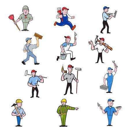 Set or collection of cartoon character mascot illustration of tradesman, industrial worker like plumber, mechanic, mason, carpenter, construction worker, handyman, painter on isolated background.