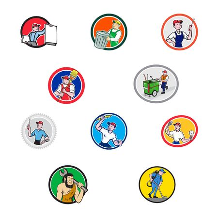 Set or collection of cartoon character mascot style illustration of tradesman, industrial worker like garbage collector, mechanic, electrician, cleaner, mechanic set in circle on isolated background.