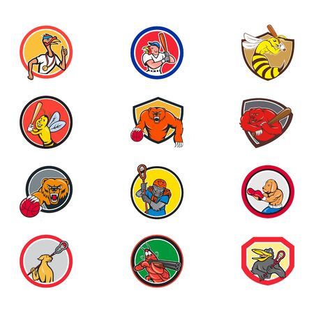 Set or collection of cartoon character mascot style illustration of animals like turkey, wasp, bee, bear, gorilla,dog, shrimp, crow engaged in sports or sporting on isolated white background. Çizim