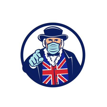 Mascot icon illustration of John Bull, a national personification of the United Kingdom and England, wearing surgical mask pointing viewed from front set in circle isolated background in retro style. Illusztráció