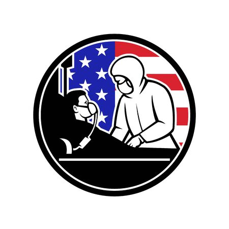 Illustration of an American medical doctor, nurse or healthcare professional wearing personal protective equipment treat an infectious COVID-19 coronavirus patient with USA flag done in retro style.