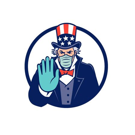 Mascot icon illustration of American Uncle Sam, national personification of US government, wearing a surgical mask, saying stop spread of virus by  hand signal on isolated background in retro style. Illustration