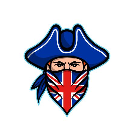 Mascot icon illustration of head of a British highwayman, a robber, bandit or outlaw who stole from travellers wearing a Union Jack bandana viewed from front on isolated background in retro style. Illustration