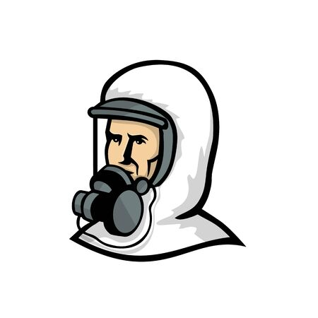 Mascot icon illustration of bust of a healthcare worker, medical professional, nurse, doctor, or essential worker wearing a PPE, protective personal equipment face mask looking to side retro style.