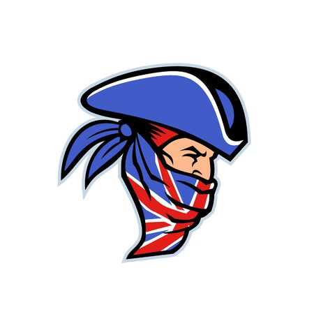 Mascot icon illustration of head of a British highwayman, a robber, bandit or outlaw who stole from travellers wearing a Union Jack bandana viewed from side on isolated background in retro style.