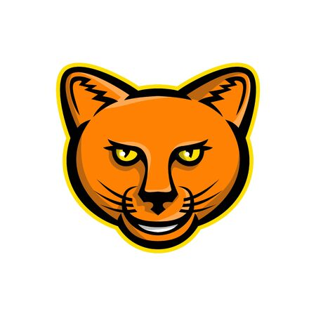 Mascot icon illustration of head of a smiling puma, cougar, panther or mountain lion viewed from front on isolated background in retro style.