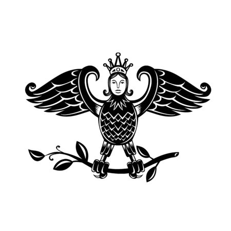 Retro style illustration of a harpy, a half-human and half-bird personification of storm winds depicted as bird with head of a maiden, perch on branch on isolated background in black and white.
