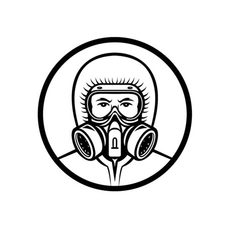 Mascot icon illustration of head of a medical professional, essential or industrial worker wearing a respiratory protective equipment, RPE viewed from front on isolated background in retro style.