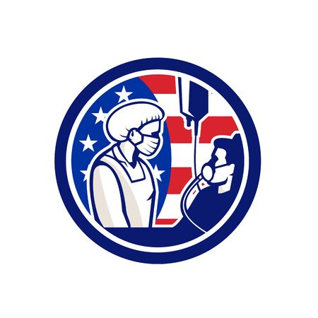 Illustration of an American medical doctor, healthcare professional or nurse wearing surgical mask tend an infectious COVID-19 coronavirus patient with USA stars and stripes flag done in retro style. Vectores