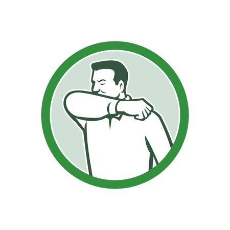 Icon retro style illustration of a man sneezing or coughing into crook of elbow to prevent the fluids and virus infection from spreading set inside circle on isolated white background.